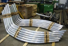 Advanced Bending Technologies compound bends in aluminum pipe.