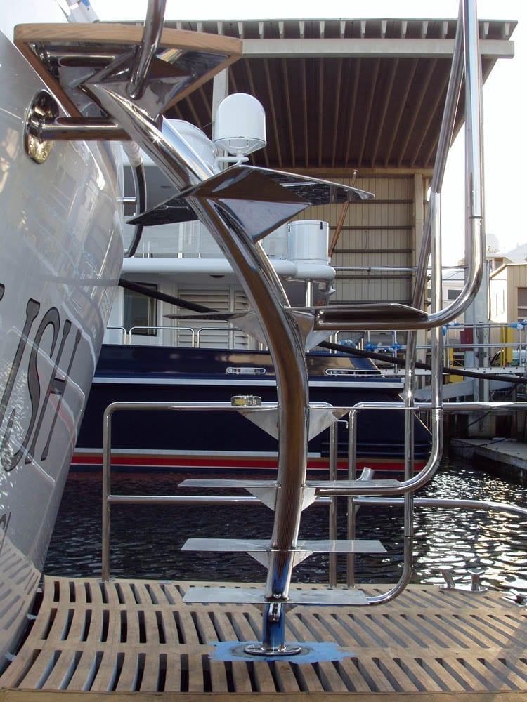 A step ladder on a boat with pipe bent by Advanced Bending Technologies.