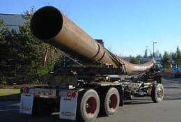 """36"""" diameter pipe on its way to the fabrication."""
