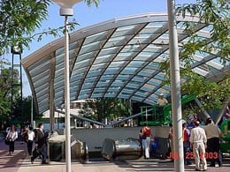 Conical bending in public transit canopy by Advanced Bending Technologies.