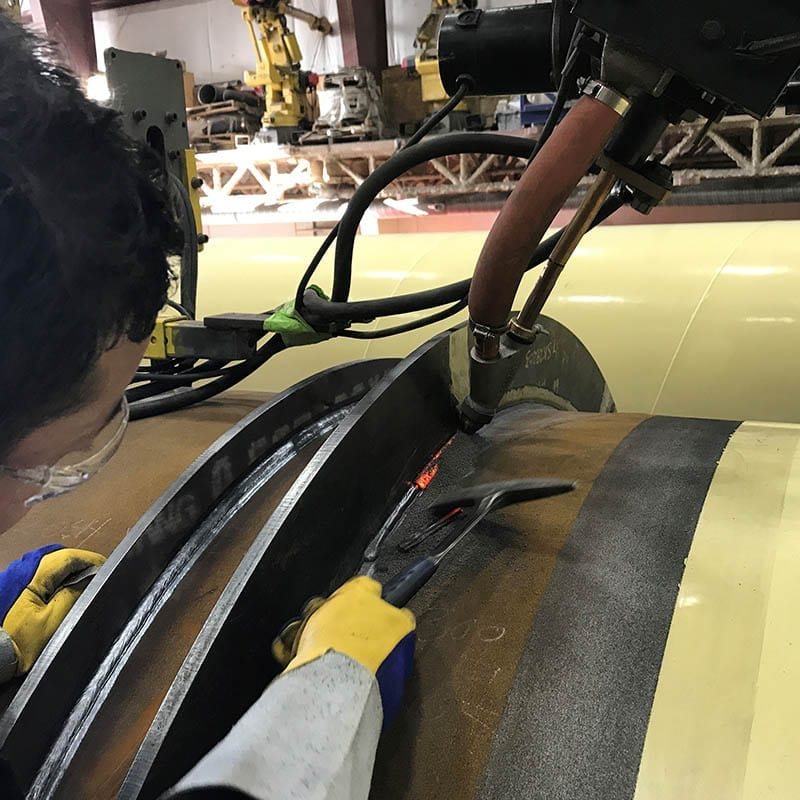 Advanced Flow Systems pressure welding.