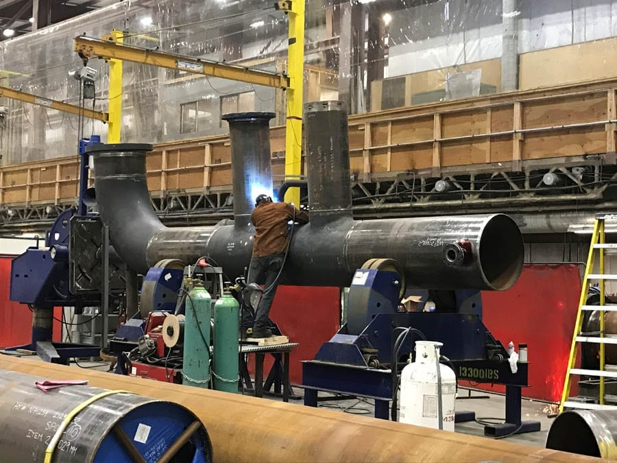 Advanced Flow Systems welding a large diameter pipe.