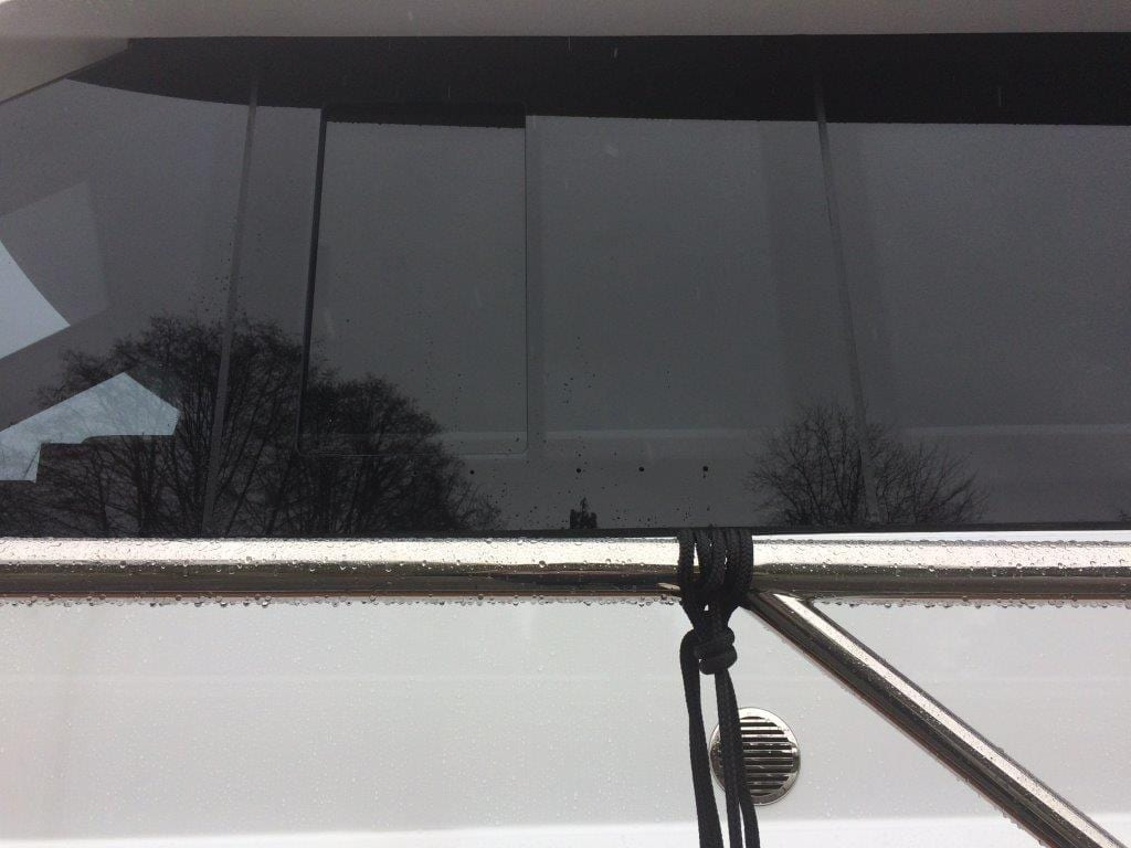 Diamond Sea Glaze fritted glass installed on a boat.